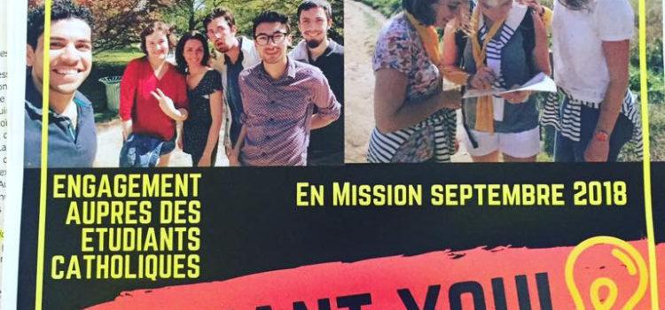 Recrutement étudiants et étudiantes pour une mission à l'aumônerie ou pour la paroisse.