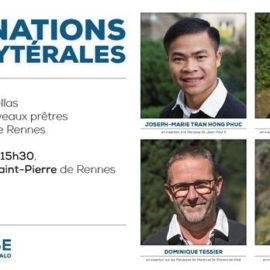 Portraits des 4 prêtres ordonnés à Rennes le 27 juin 2021